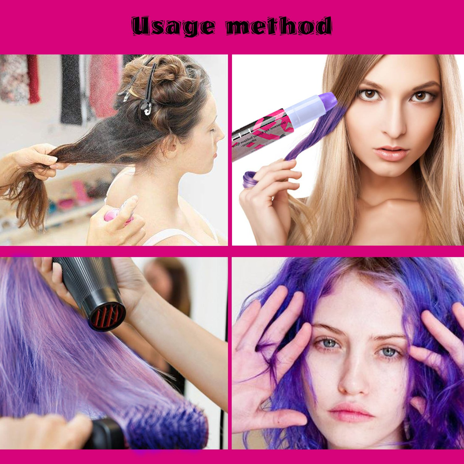 Hair Chalk, XIAO MO GU 6 Colourful Temporary Hair Color for Children & Adults, Perfect for Fancy Dress, Hair Dyeing Party and Cosplay DIY,Works on All Hair Colors
