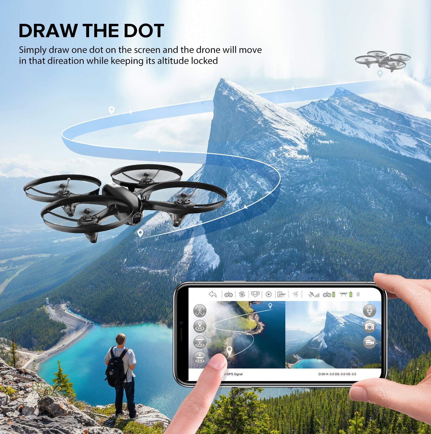 Potensic U47 Camera Drone, FPV RC Quadcotper with 720P HD Camera Live Video, Altitude Hold, Headless Mode, One Key Return and Speed Adjustment