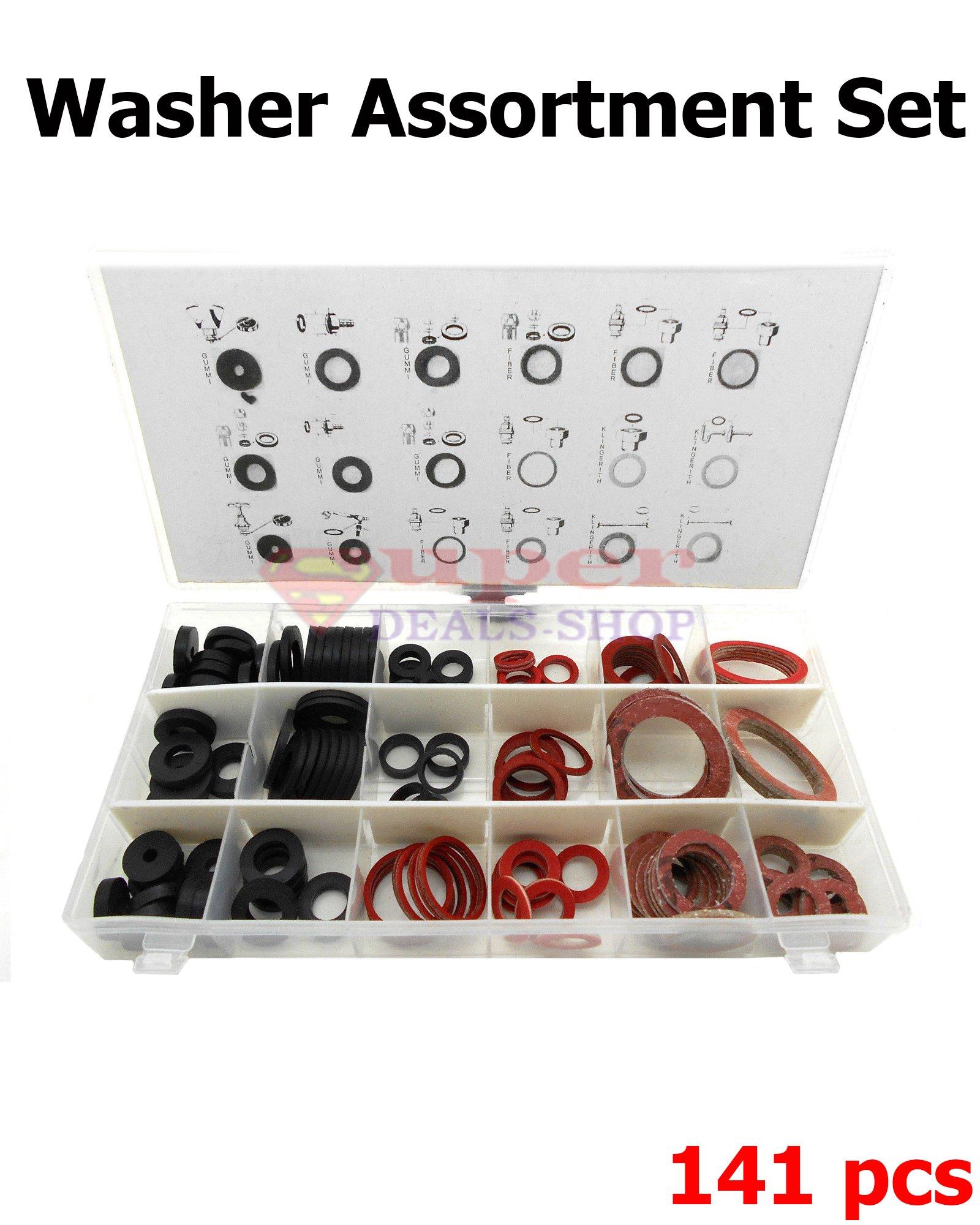 141 Pieces Faucet Washer Assortment Set Fiber Washer Set Rubber Washer Set Klingerite Washer Set O-Rings Super-Deals-Shop