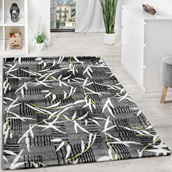 Teppich Modern Wohnzimmerteppich Kurzflor Grau Grun Creme Meliert