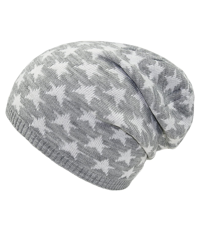 Gorro De Niña Jersey Beanie Oversize Punto Para Entretiempo Sombrero Invierno One Size Estrellitas Niños (PT-4005-W16-MA1) incl. EveryHead-Hutfibel