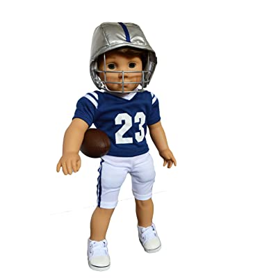 My Brittany's Blue and White Football Outfit for American Girl Boy Dolls- 18 inch boy doll clothes- Logan doll is not included