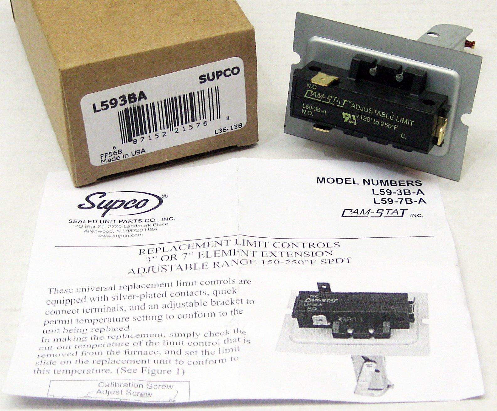 SUPCO L59-3B-A Limit Control, 120-250 Degrees F Limit Off Temperature, 3'' Length