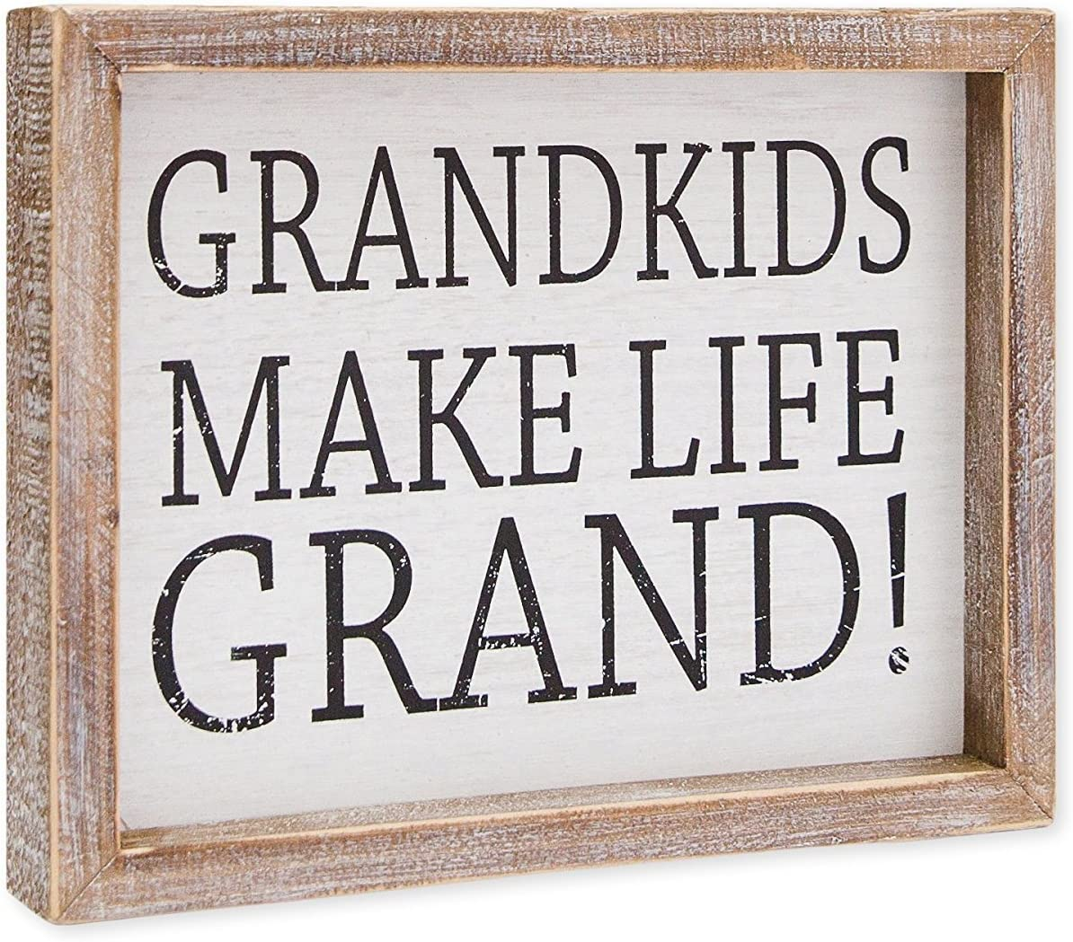 "9"" X 7"" X 1.5"" Framed Sign (Grandkids Make Life Grand!) White/Black - Model Number - 18970"