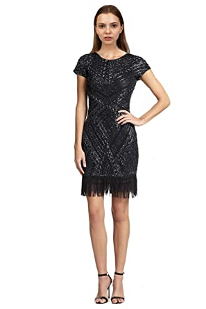 31001797c55 Amazon.com  Aidan Mattox Beaded Fringe Trim Cocktail Dress  Clothing