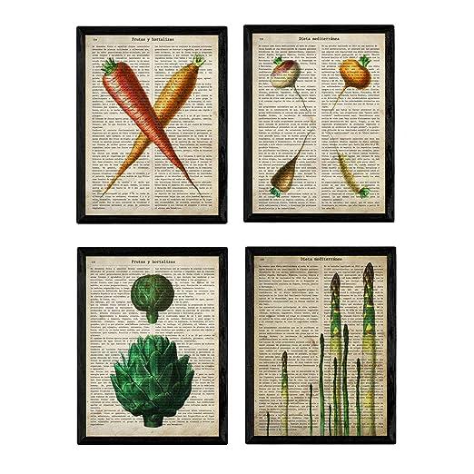 Nacnic Set de Cuatro láminas de Frutas y Verduras. Tamaño A4 ...
