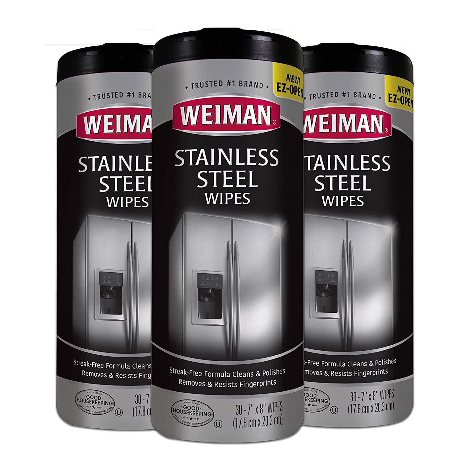 Weiman Stainless Steel Cleaner Wipes [3 Pack] Removes Fingerprints, Residue, Water Marks and Grease from Appliances - Works Great on Refrigerators, Dishwashers, Ovens, and Grills