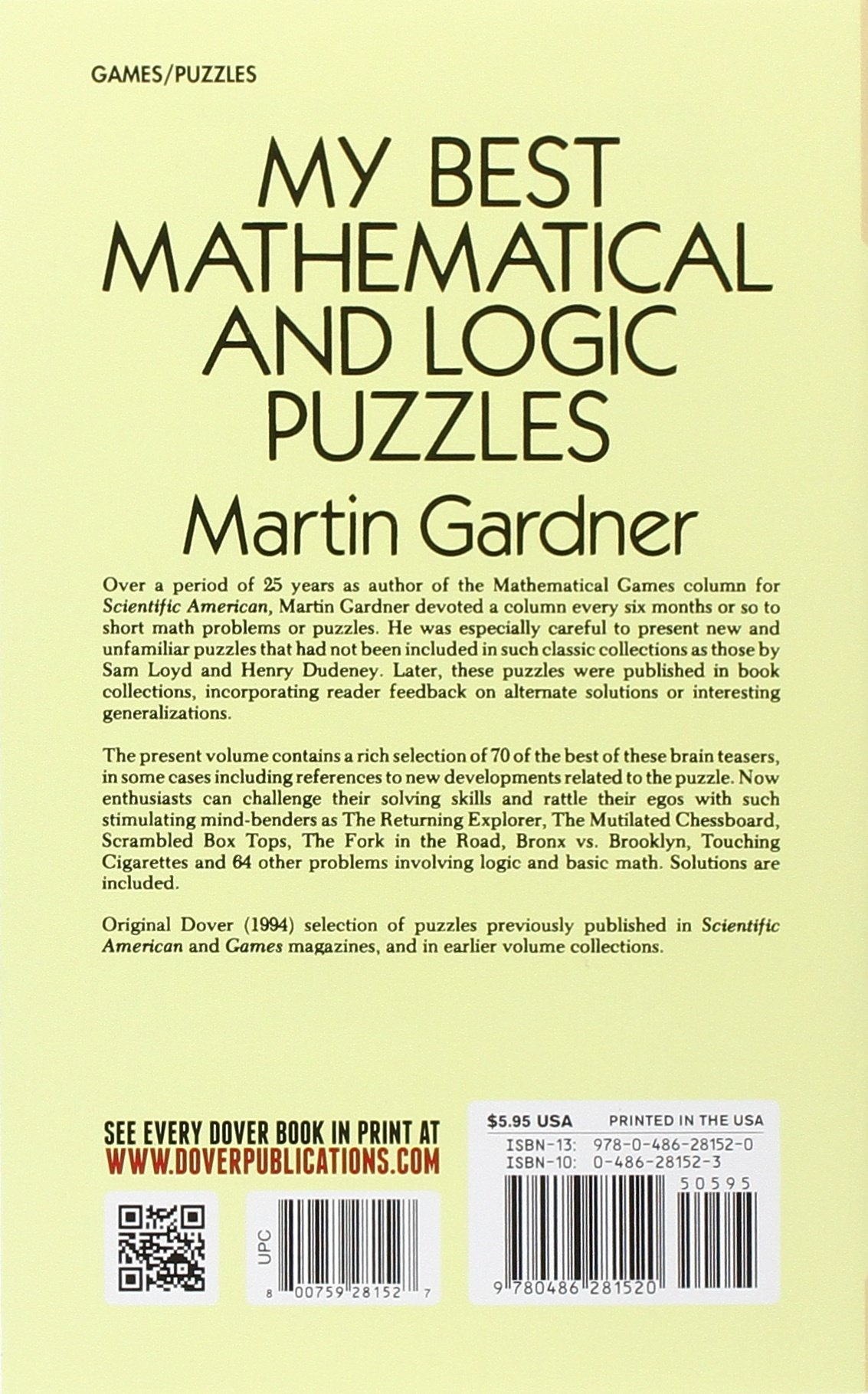 My Best Mathematical And Logic Puzzles Dover Recreational Math - Us zip code logic