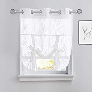 PONY DANCE Tie Up Curtain - Bedroom Window Shade Light Filter Semi-Sheer Roman Shade Drapes Valance Elegant for Home Decoration, 42 x 54 inches, White, Set of 1
