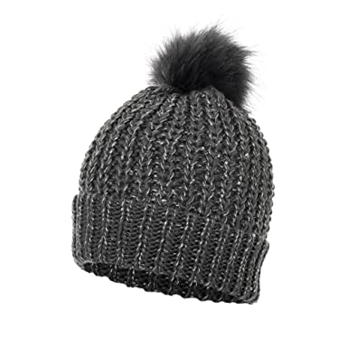 879ae9abdbb Love Lola Womens Bobble Hats Ribbed Sequin Detachable Faux Fur Pom Pom  Winter Woolly Knitted Ski Hats (Charcoal)  Amazon.co.uk  Clothing