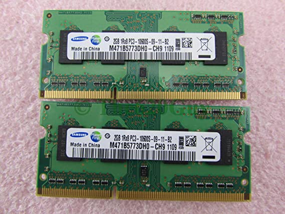 Samsung 4GB 2 x 2GB PC3-10600s DDR3 1333 S0DIMM Laptop Memory Kit Components at amazon