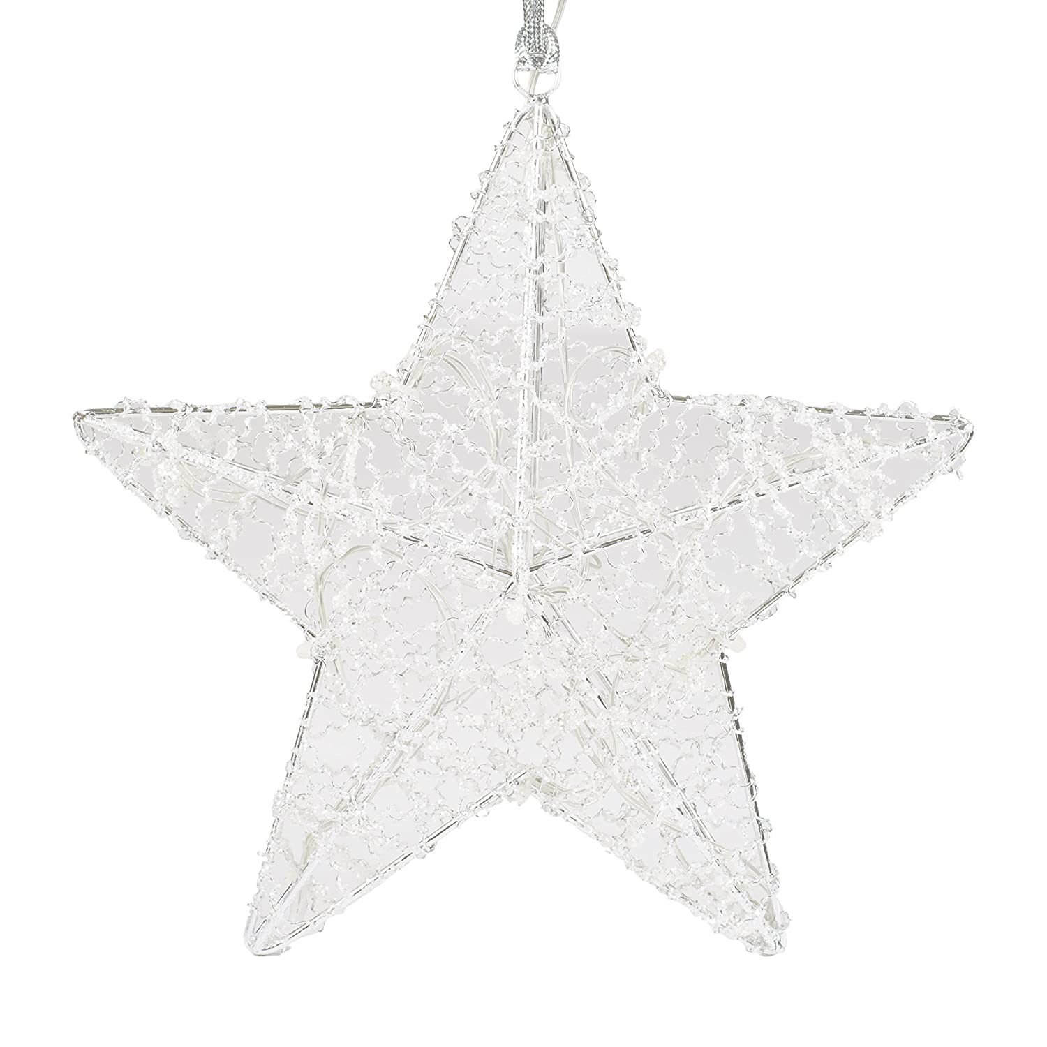 Winters Crystal Glitter Light Up LED 10 Inch Wire Star Christmas Ornament with Timer