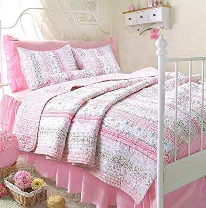 Amazon Romantic Chic Lace Quilt Set Pink Twin Size Home