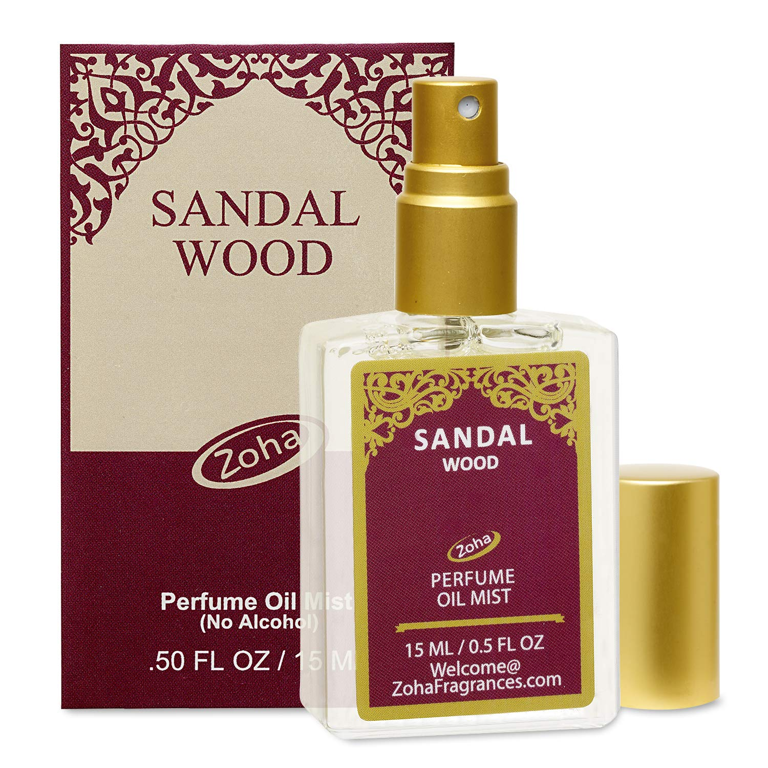 SandalWood Perfume Oil Mist (No Alcohol) Sandalwood Oil Fragrance - Essential Oils and Perfumes for Women and Men by Zoha Fragrances, 15 ml / 0.50 fl Oz by Zoha