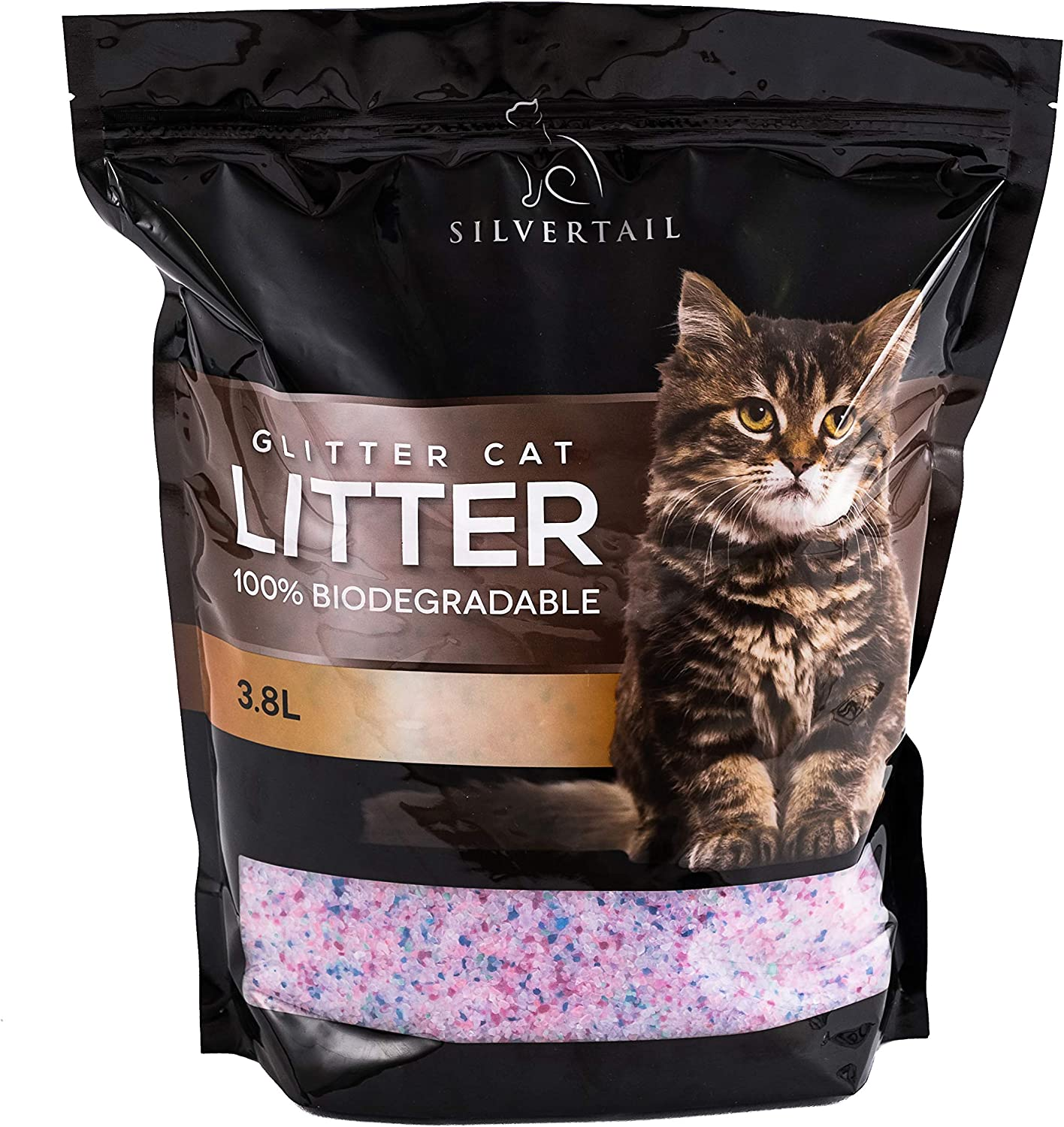 Silvertail Crystal Cat Litter 3.8pounds Glitter Cat Litter Biodegradable Pure Silica Gel Crystals Natural Odor Control Fragrance Free Highly absorbant Clumps for Easy scooping with Sand Like Feel