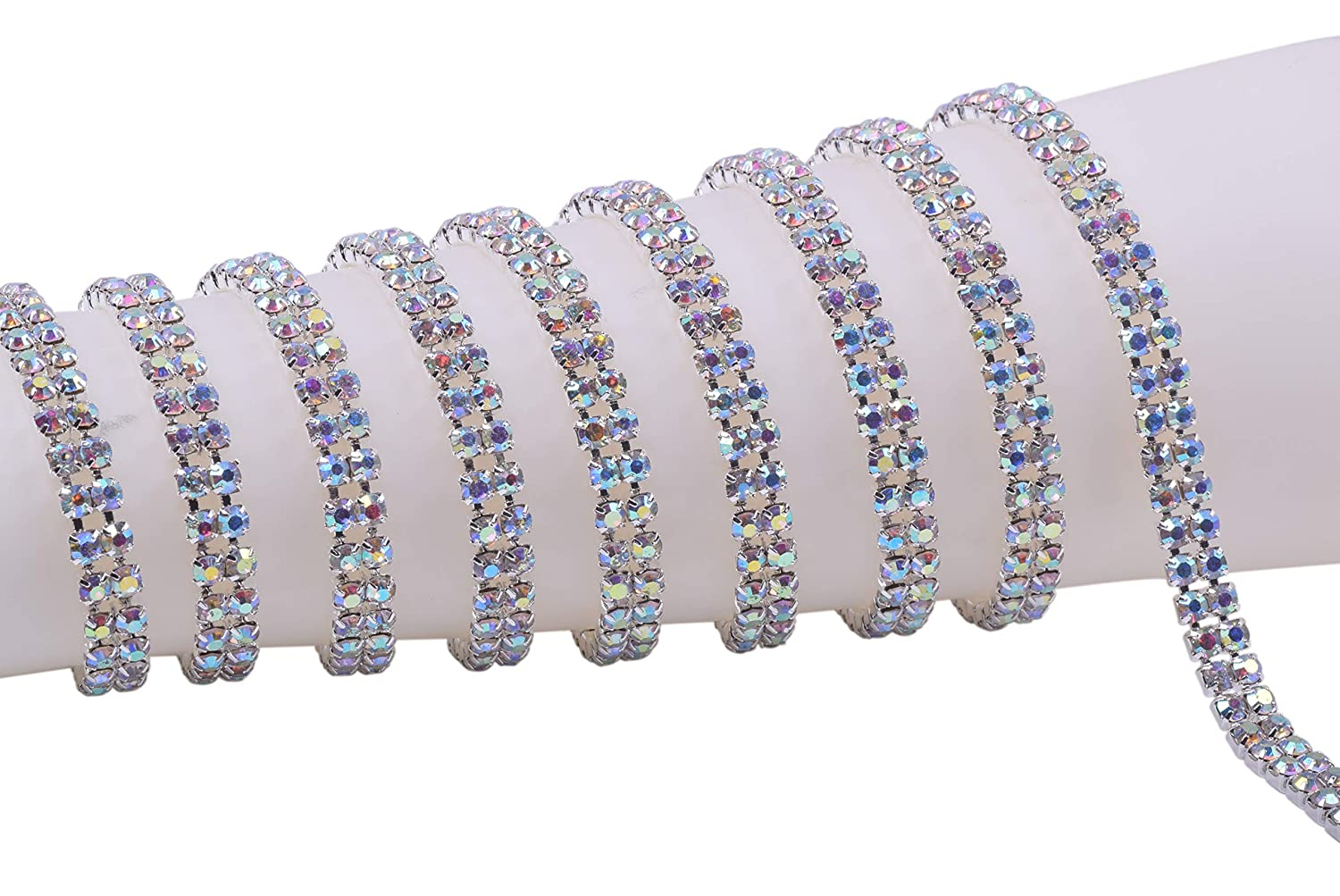 KAOYOO 3 Rows 1 Yard Crystal Rhinestone Close Chain Trim,SS16/4.0mm/0.16