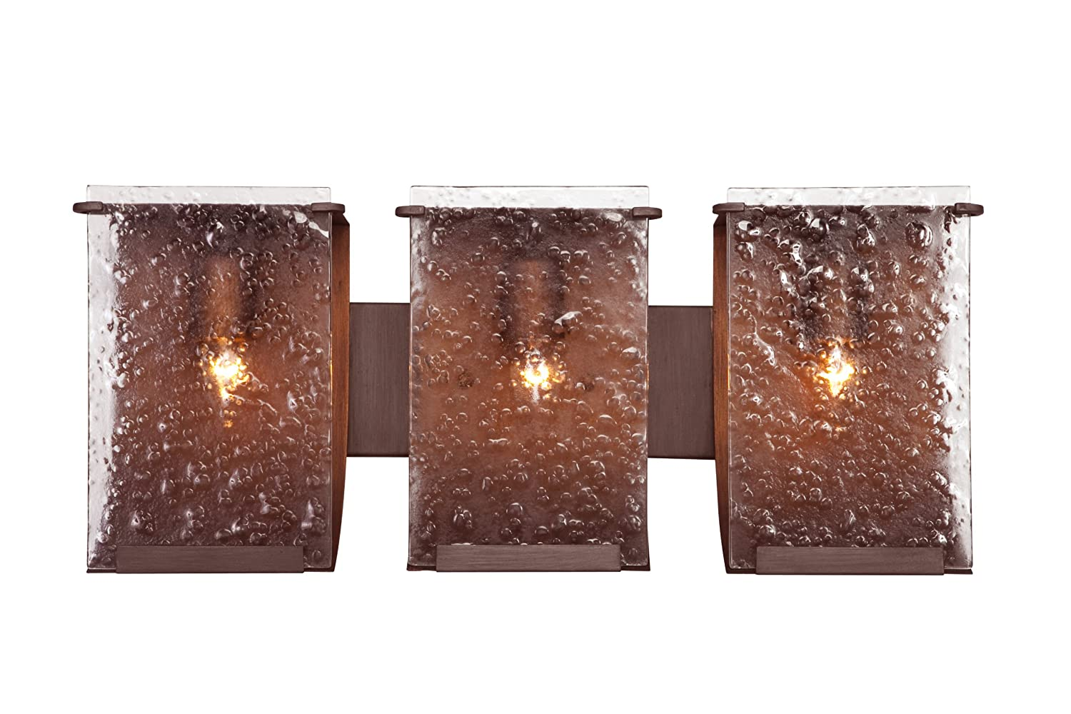 Varaluz 160B03HO Rain 3-Light Vanity – Hammered Ore Finish with Rain Recycled Glass