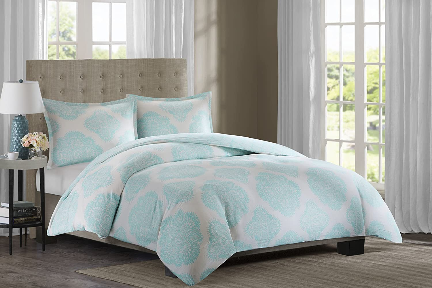 Amazoncom Echo Design Bindi Duvet Cover Set King Aqua Home