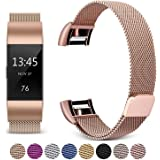 [Updated Solid Version] For Fitbit Charge 2 Magnetic Bands, Hotodeal Band Milanese Loop Stainless Steel Metal Replacement Bracelet Strap, Wristbands Accessories for Women Men