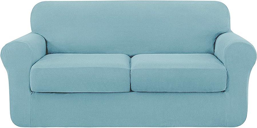 Oferta amazon: subrtex 2 Plazas Funda de Sofá de con 2 Cojines de Asiento Separados de Alta Elasticidad para Sillón Anti Arañazos Protector de Muebles Lavables (2 Plazas, Azul Claro)