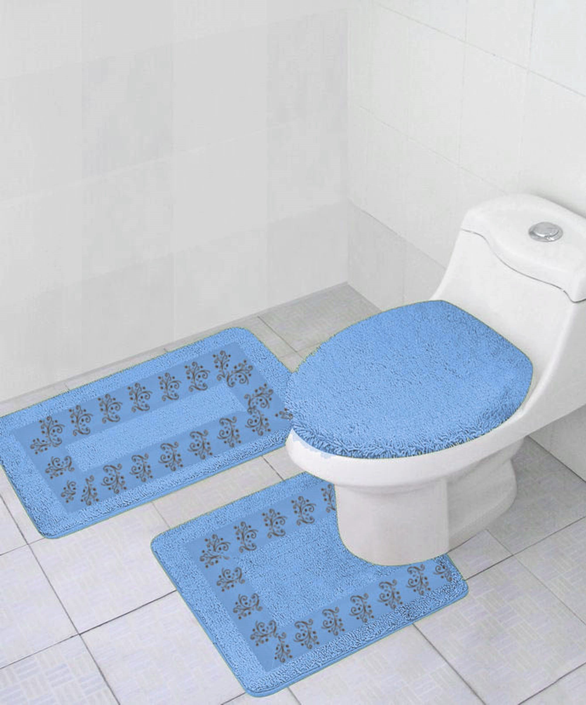 GorgeousHomeLinenDifferent Colors 3-Piece Embroidery Bathroom Rug Set Includes, Contour Mat + Lid Toilet Cover + Bath Mat Ultra Absorbent with Anti-Slip Backing (Light Blue)