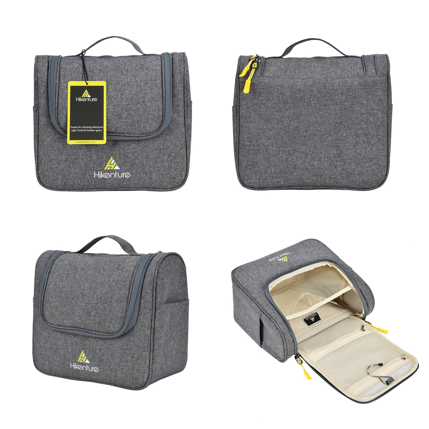 Travel Hanging Toiletry Bag by Hikenture | Cosmetics, Makeup and Toiletries Organizer | Compact Bathroom Storage | TSA Friendly | Home, Gym, Airplane, Hotel, Car Use(Grey) by Hikenture (Image #7)