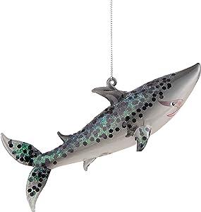 C&F Home Glitter Shark Christmas Xmas Ornament Gray