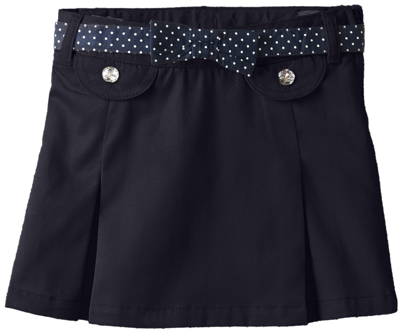 French Toast Little Girls' Polka Dot Belted Scooter, Navy, 5