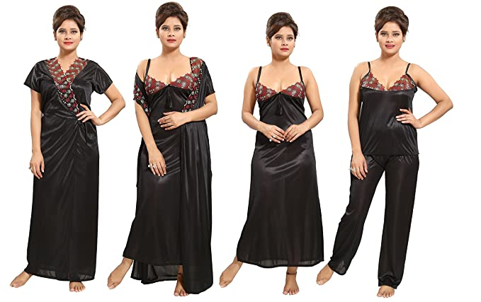 6ebbe885b2 Image Unavailable. Image not available for. Colour  TUCUTE Women s Satin  Nighty - 4 Pc Set- Nighty Robe Top Bottoms