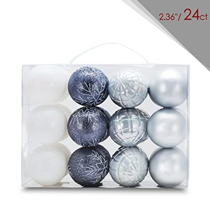 zolee 236 set of 24ct christmas balls shatterproof painting tree ornaments with portable gift box - White Christmas Balls