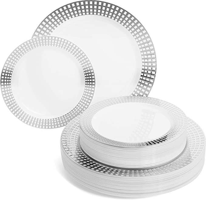 """Perfect Settings Princess Silver Series Plastic Plates - Disposable Dinnerware Set Heavy Duty Combo Party Plates 