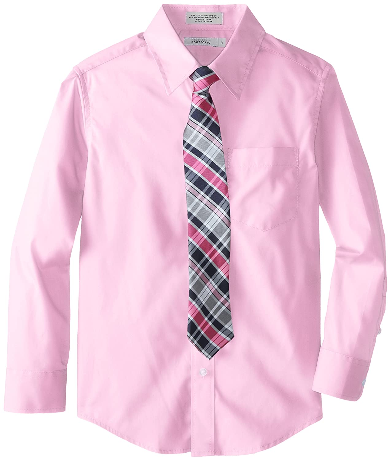 Perry Ellis Big Boys' Solid Packaged Shirt with Tie