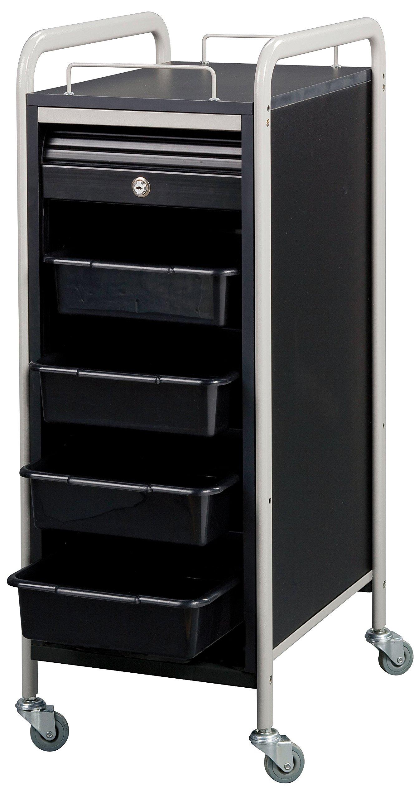 Savvy SAV-505-BB Salon Lockable Roller Cart Trolley in (BLACK / GRAY) + Free YS Park L-Clips ($15 value)