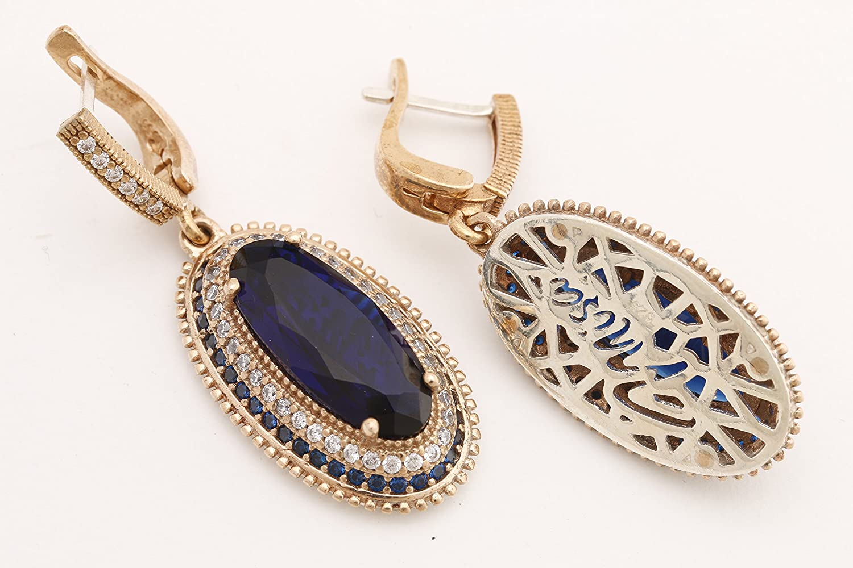 Turkish Handmade Jewelry Long Oval Shape Sapphire and Round Cut Topaz 925 Sterling Silver Dangle//Drop Earrings