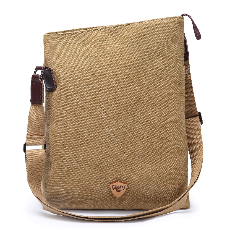 Khaki Tehomax Canvas Crossbody Bag Vintage Tote Bags Messenger Shoulder Satchel Hobo Handbags Weekender Bag