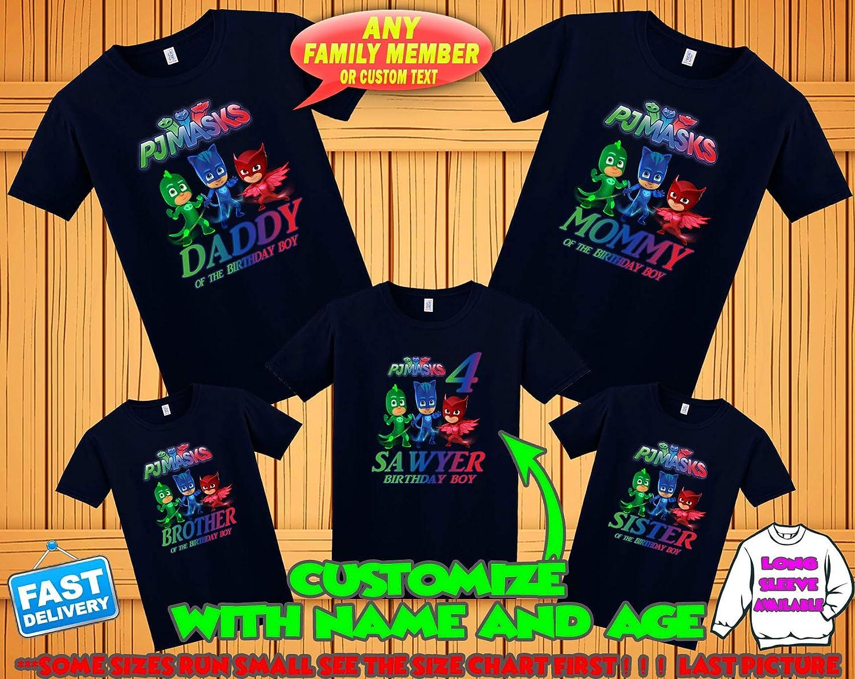 PJ Masks Birthday Shirt, PJ Masks Custom Shirt, Personalized PJ Masks Shirt, Pj Masks family shirts, Birthday t-shirt for girls and boys