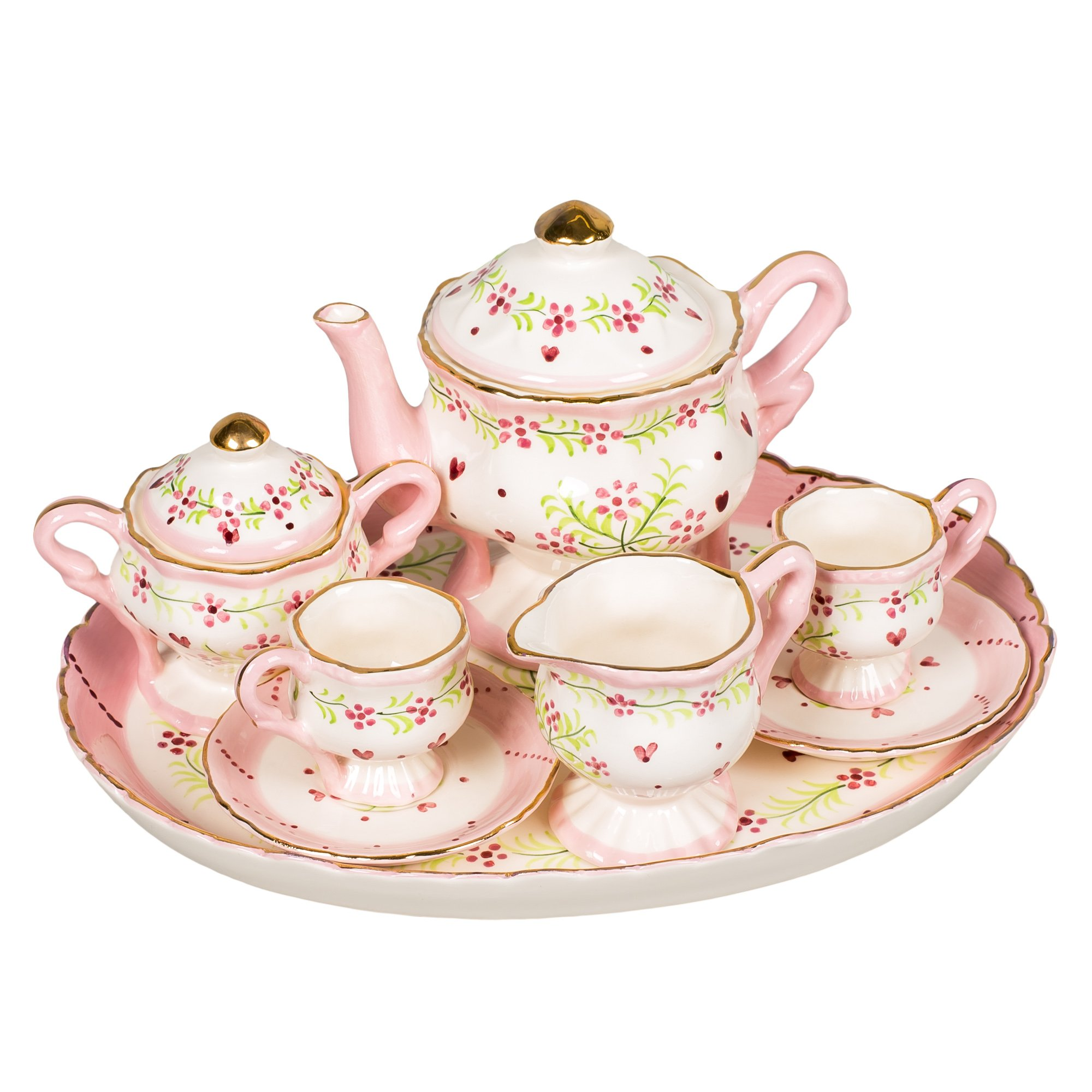 Hearts and Swirls Design White Porcelain Children's Tea Party Set