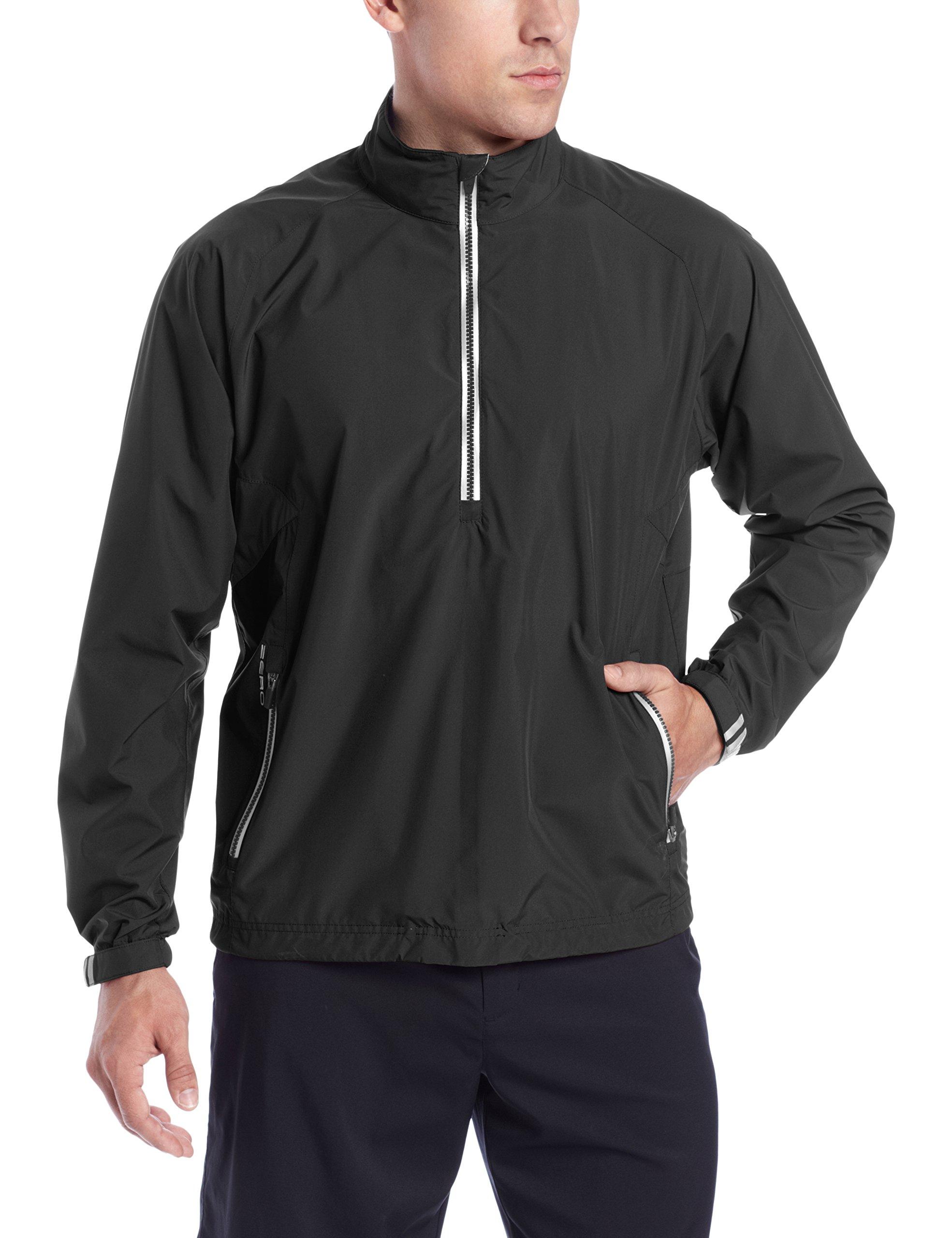 Zero Restriction Men's Power Torque 1/4 Zip Packable Rain Jacket, Black/Black, Large