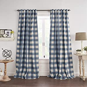 "Elrene Home Fashions Grainger Buffalo Check Blackout Window Curtain Panel, 52""x95"" (1, Indigo"