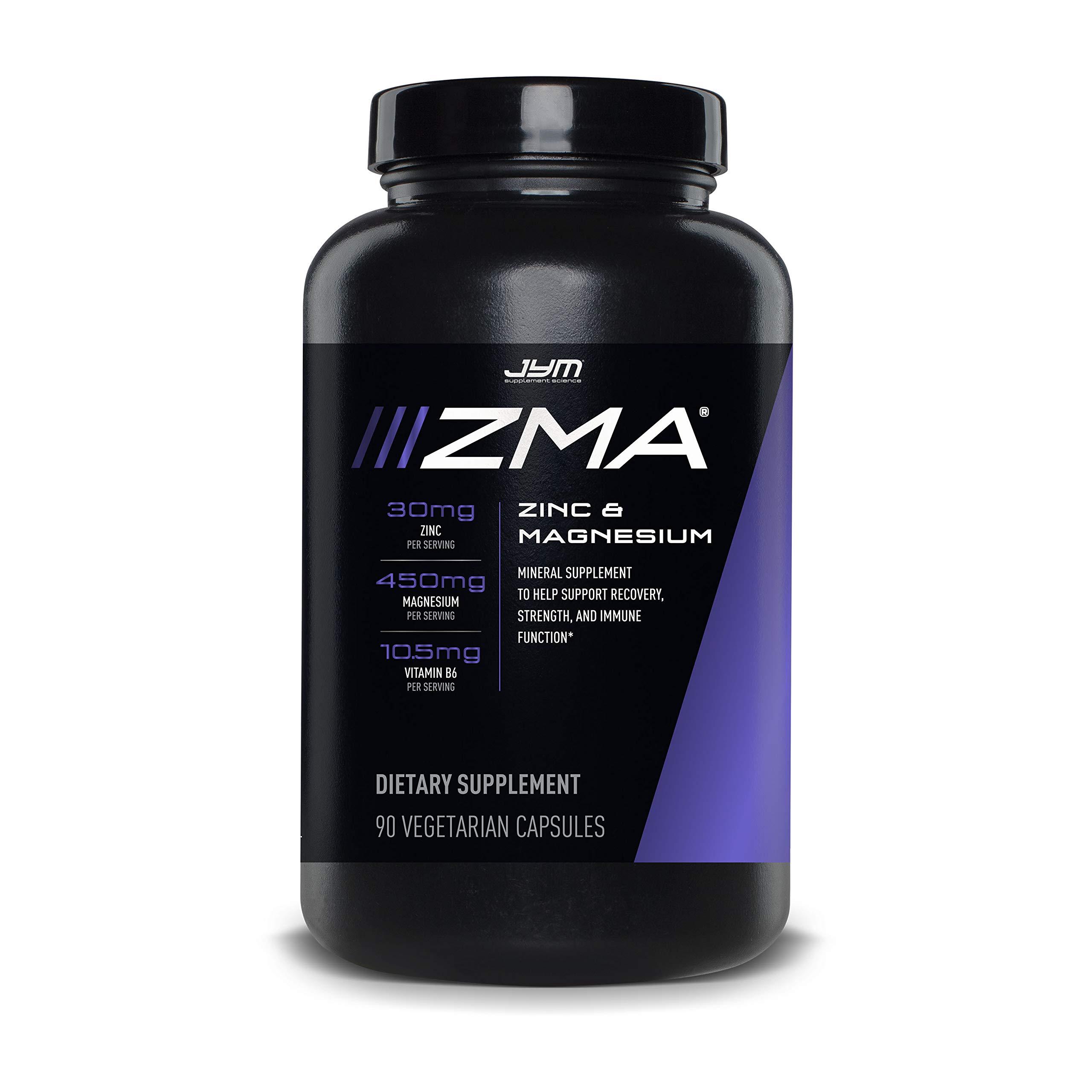 JYM Supplement Science ZMA Zinc/Magnesium Capsules Supplement - Zinc, Magnesium and Vitamin B6 | JYM Supplemental Science | 90 Vegetarian Capsules