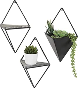 MyGift Diamond-Shaped Wall-Mounted Metal 2 Accent Wall Shelves & Sconce Planter, 3-Piece Set