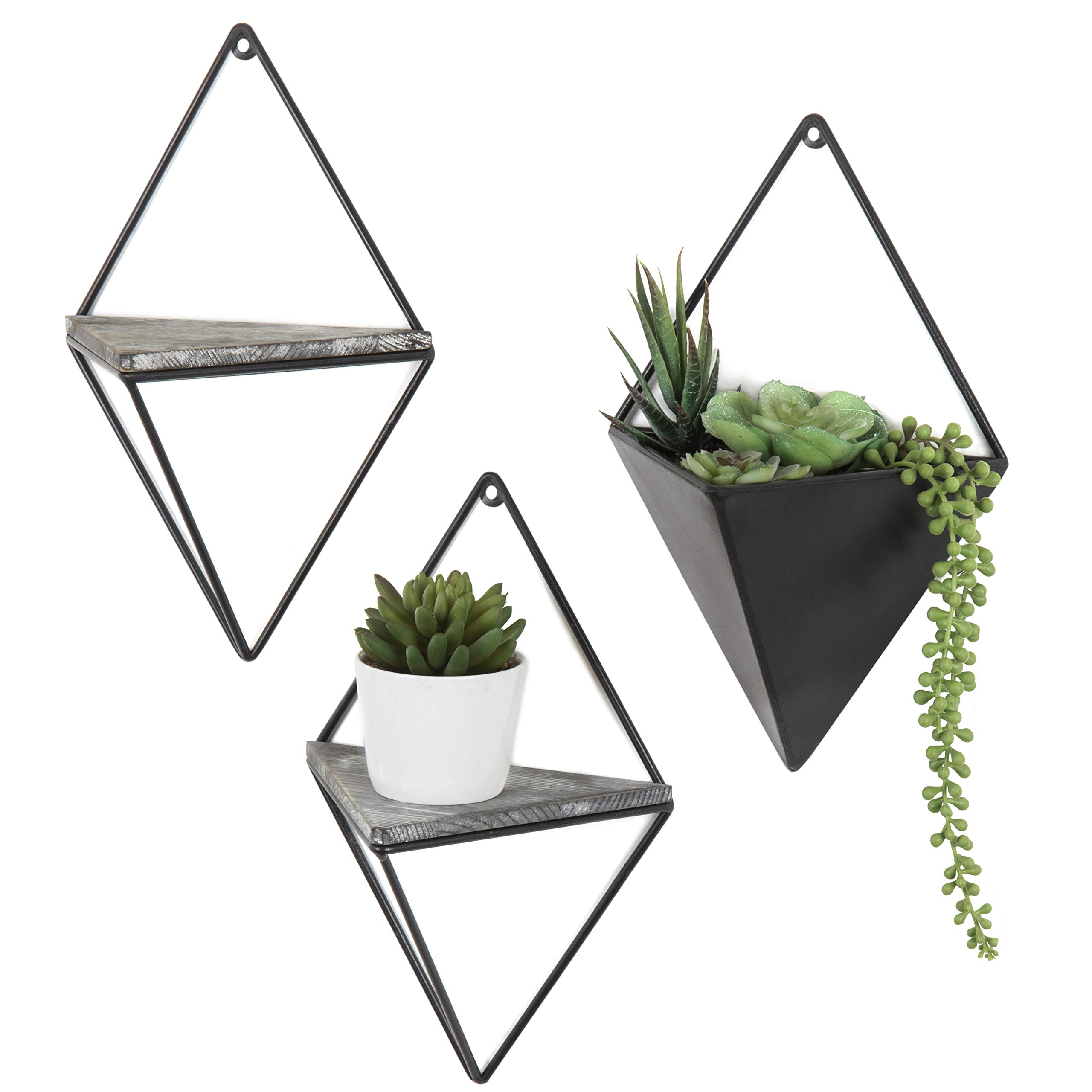 MyGift Diamond-Shaped Wall-Mounted Metal 2 Accent Wall Shelves & Sconce Planter, 3-Piece Set by MyGift