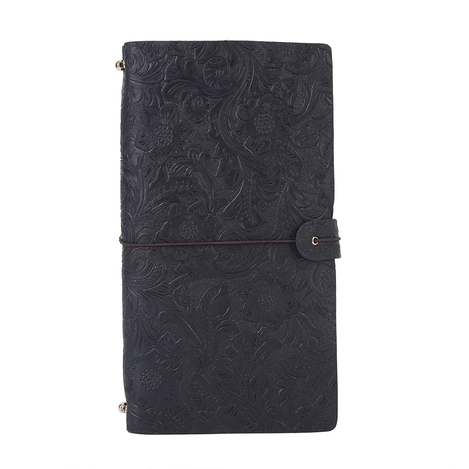 Vintage Embossed Leather Journal Writing Travelers Notebook,UBaymax Refillable Handmade Leather Bound Daily Planner Calendar for Men Women L Size