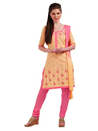 6abf945d71 Viva N Diva Un-Stitched Embroidery Salwar Suit Material Dupatta For Women's Cream  Cotton Punjabi