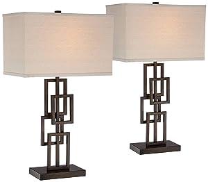 Kory Modern Table Lamps Set of 2 Dark Bronze Metal Geometric Base Rectangular Shade for Living Room Family Bedroom Office - 360 Lighting