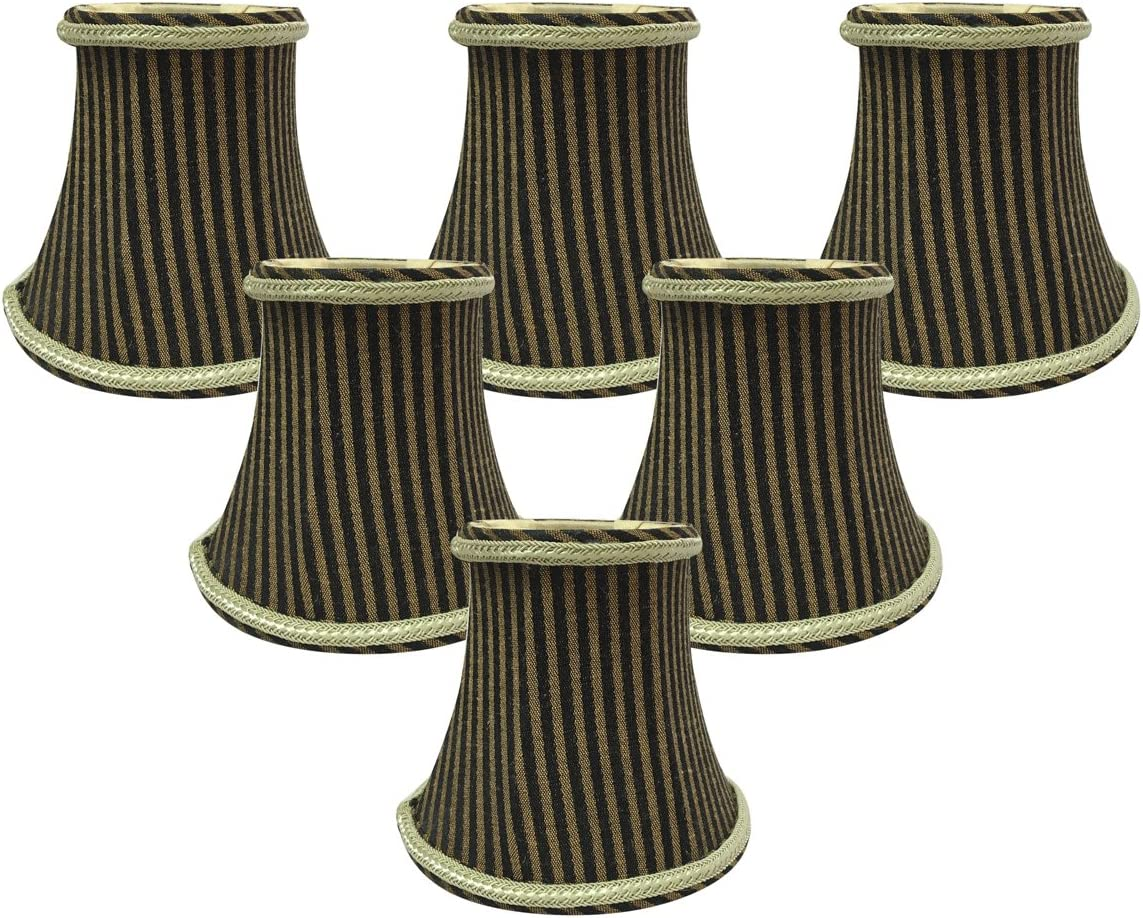 Royal Designs 5 Black Antique Gold Striped Chandelier Lamp Shade, Set of 6, 3 x 5 x 4.5 CS-608AGL BR-6