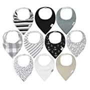10-Pack Baby Bandana Drool Bibs for Drooling and Teething, 100% Organic Cotton, Soft and Absorbent, Hypoallergenic Unisex Ana Baby Bibs for Baby Boys & Girls - Baby Shower Gift Set