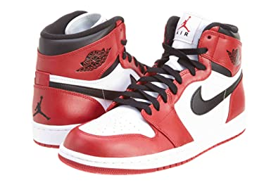 8d1fcd85259e67 Nike Mens Air Jordan 1 Retro High 2013 Chicago White Varsity Red-Black  Leather