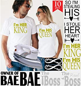 PrinturShirt Couples Shirts for Him and Her, Husband and Wife   Engagement Shirts   Wedding Anniversary Shirt - Matching, Duo - Iron On Heat Transfer Vinyl Set - 8pcs, 6 by 9 Inch, Black and Gold