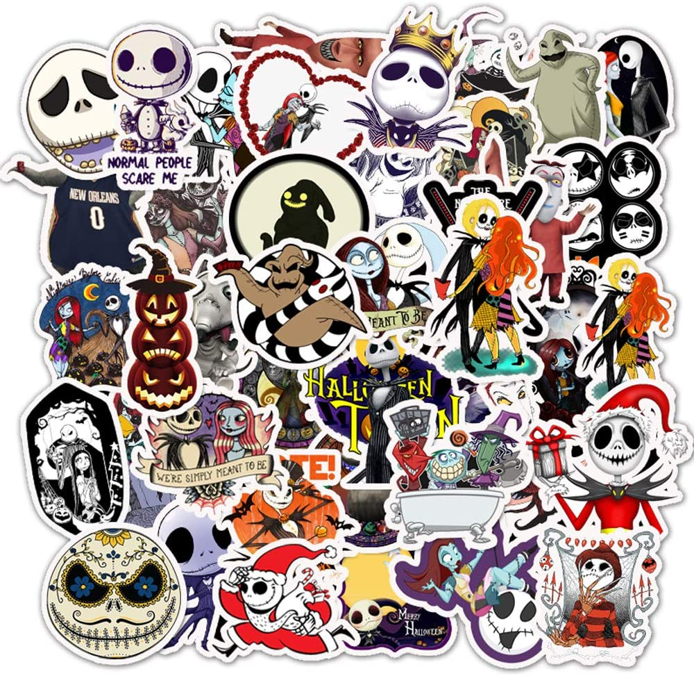 Halloween Theme Stickers Laptop Stickers The Nightmare Before Christmas and Tim Burton's Sticker Vinyl Waterproof Stickers Bike Skateboard Luggage Decal Graffiti Patches 50 PCS